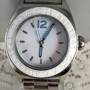 Coach Stainless Steel White w/Blue Accents Watch